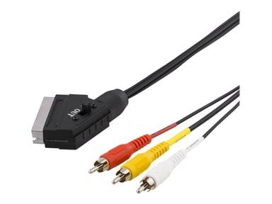 Deltaco DEL-129-K 2m 21 pin SCART Hane RCA x 3 Hane