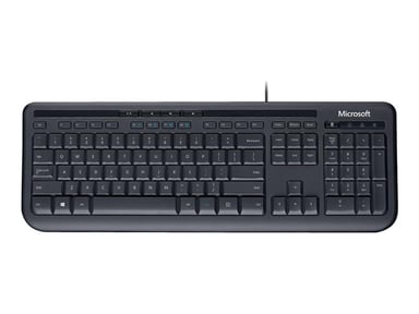 Microsoft Wired Keyboard 600 Kabling Engelsk Sort