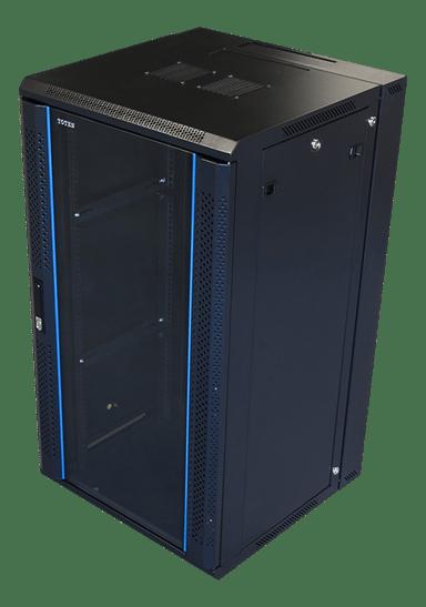"Toten 19"" Wall Cabinett 22U 600X600 Lockable Glassdoor Black"