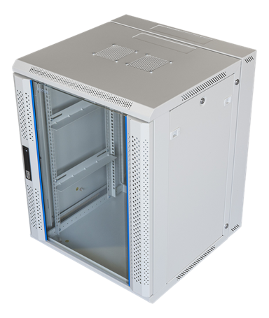 "Toten 19"" Wall Cabinett 15U 600X600 Lockable Glassdoor White"