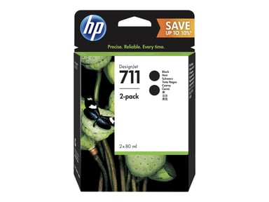 HP Blekk Svart 711 80ml 2-Pack - DJ T120/T520