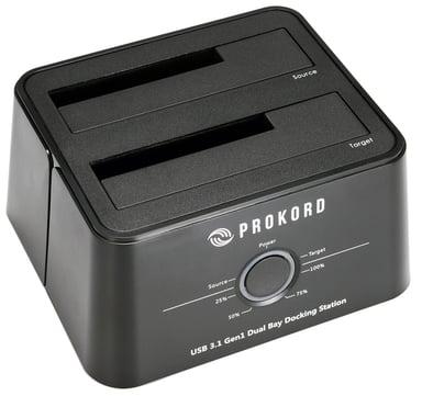 Prokord USB 3.1 -telakointiasema levyn kloonauksella