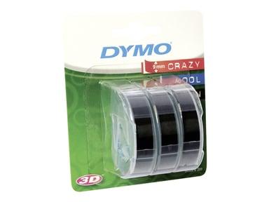 Dymo Embosser Tape 9mm x 3m Black 3pcs