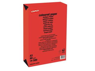Staples Kopieringspapir A3 80 g Rødt 500 ark null