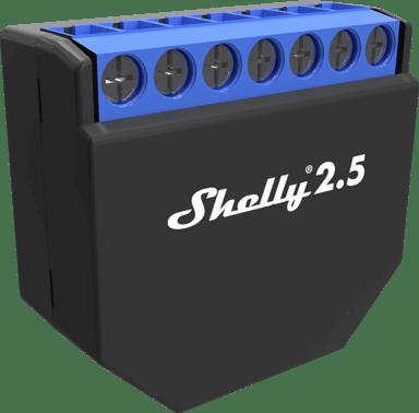 Shelly 2.5 WiFi tvåkanalig fjärrströmbrytare med energimätning för inbyggnad