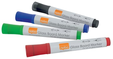 Nobo Whiteboard Marker Glass Board Sorted Colors 4-Set