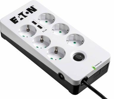 Eaton Protection Box 6 eluttag + 2 USB 10A Extern 6st Vit