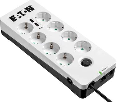 Eaton Protection Box 8 stikkontakt + 2 USB + 1 Tele 10A Ekstern 8st Hvit