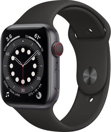 Apple Watch Series 6 GPS + Cellular, 44mm Space Grey Aluminium Case with Black Sport Band