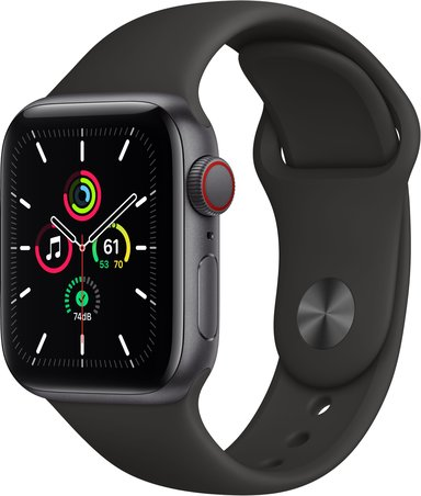 Apple Watch SE GPS + Cellular, 40mm Space Gray Aluminium Case with Black Sport Band