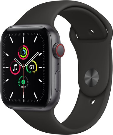 Apple Watch SE GPS + Cellular, 44mm Space Gray Aluminium Case with Black Sport Band
