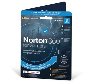 NortonLifeLock Norton 360 For Gamers 50GB Nordic 1-User 3-Devices 1 year Box