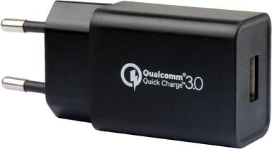 Cirafon Wall Charger 1xUSB 230V 5V 18W Qc3.0 Musta