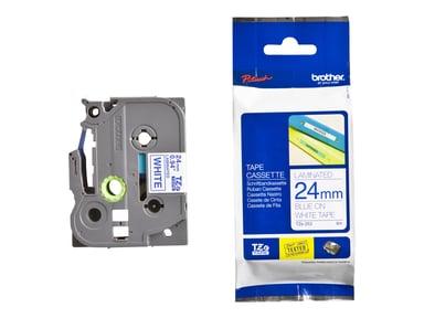 Brother Tape TZE-253 24mm Blå/Hvid
