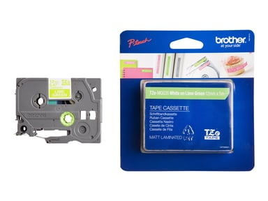 Brother Tape TZe-MQG35 12mm White/Lime Green
