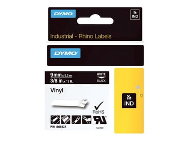 Dymo Tape RhinoPRO Perm Vinyl 9mm Vit/Svart