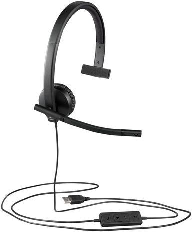 Logitech USB Headset H570e Mono Svart