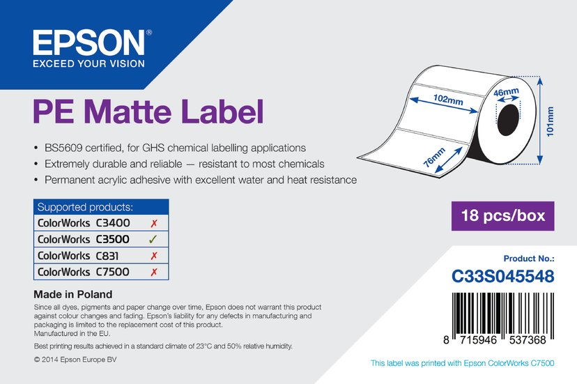 Epson Etiketter Prem Matt Die-Cut 102mm x 76mm - C3500