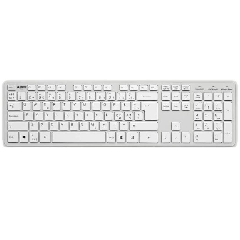 Matting Jobmate Slim Kablet Tastatur Nordisk Hvit, Sølv