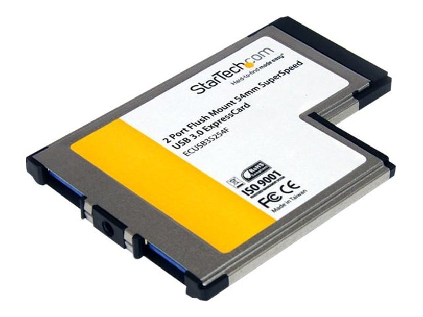 Startech 2 Port Flush Mount ExpressCard 54mm SuperSpeed USB 3.0 Card Adapter