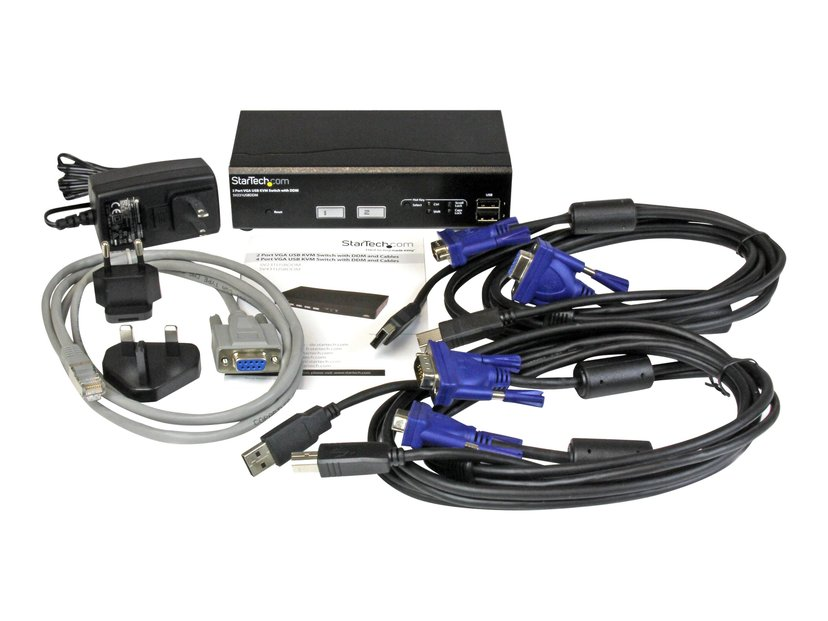 Startech 2 Port USB VGA KVM Switch with DDM Fast Switching and Cables
