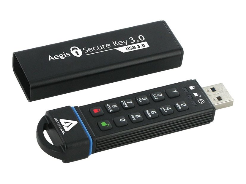 Apricorn Aegis Secure Key 3.0 8GB USB 3.0 256-bit AES-XTS; 256-bits SHA; FIPS 140-2 Level 3