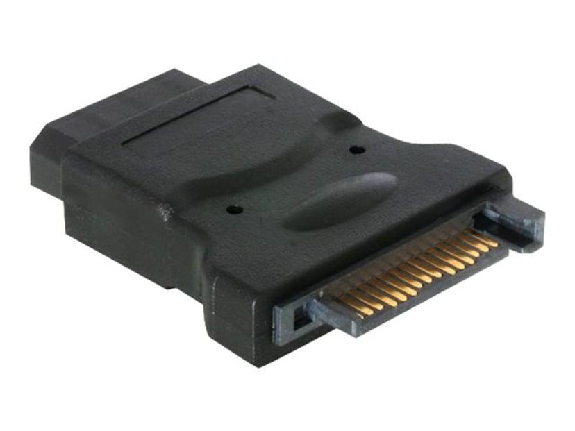 Deltaco Adapter 4-pin intern strøm Hunn 15-pins seriell ATA-strøm Hunn