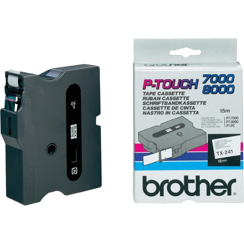 Brother Tape TX-241, 18mm Svart/Vit