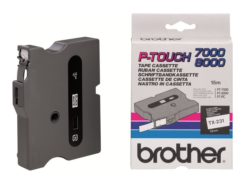 Brother Tape TX-231 12mm Black/White