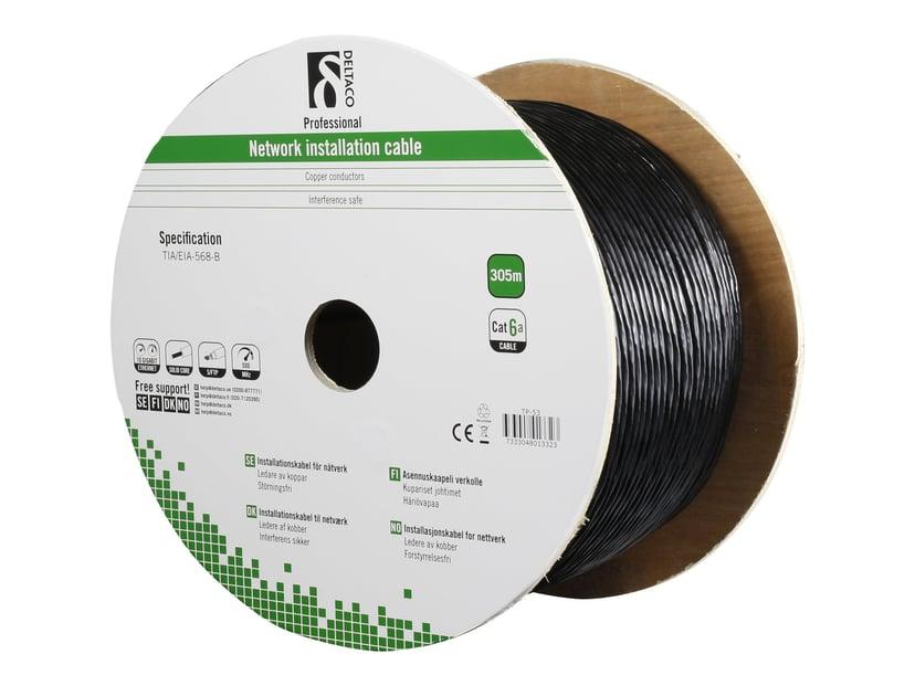 Deltaco Patch-kabel for utendørs bruk 305 meter  Svart Skjermet foliebelagt tvunnet parkabel (SFTP) CAT 6a 305m Svart