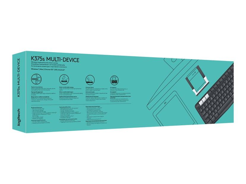 Logitech K375s Multi-Device Trådlös Tangentbord Nordisk Grå, Vit