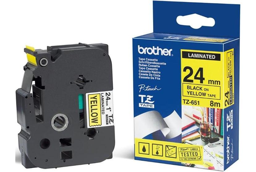 Brother Tape TZE-651 24mm Sort/Gul