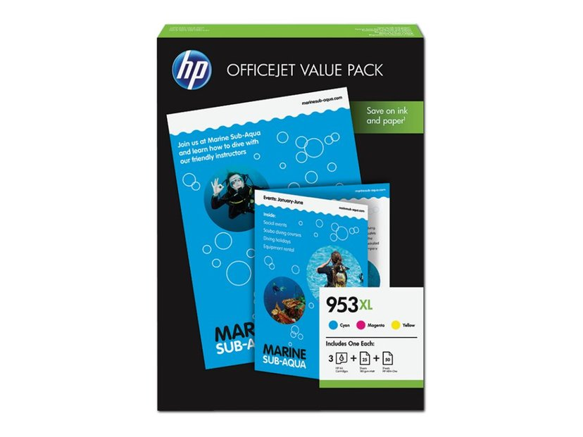 HP Bläck Value Pack 953XL (C/M/Y) + 50 Sheet A4
