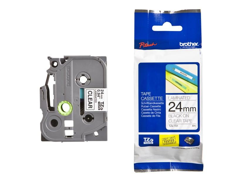 Brother Tape TZE-151 24mm Sort/Transparent
