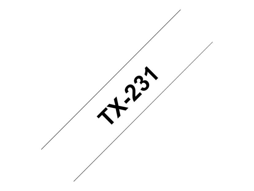 Brother Tape TX-231 12mm Sort/Hvid