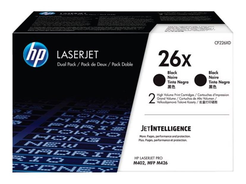 HP Värikasetti Musta 26X 9K - CF226XD 2-Pack