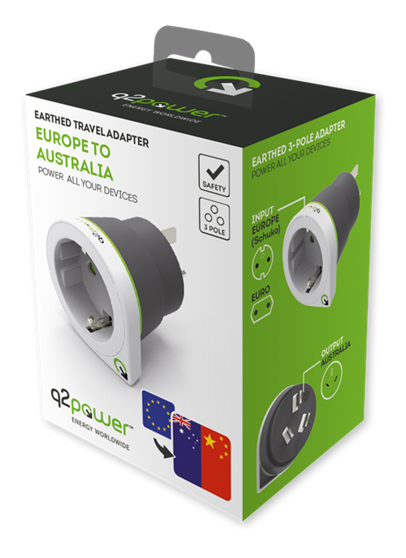 Q2power Reseadapter Jordad 10A EU - Australien/Kina Vit