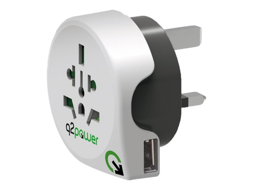 Q2power Travel Adapter Grounded 1xUSB World - UK White