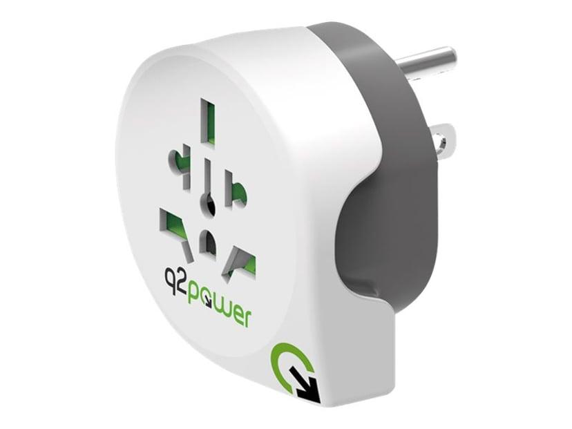 Q2power Reseadapter 10A Världen - USA Vit