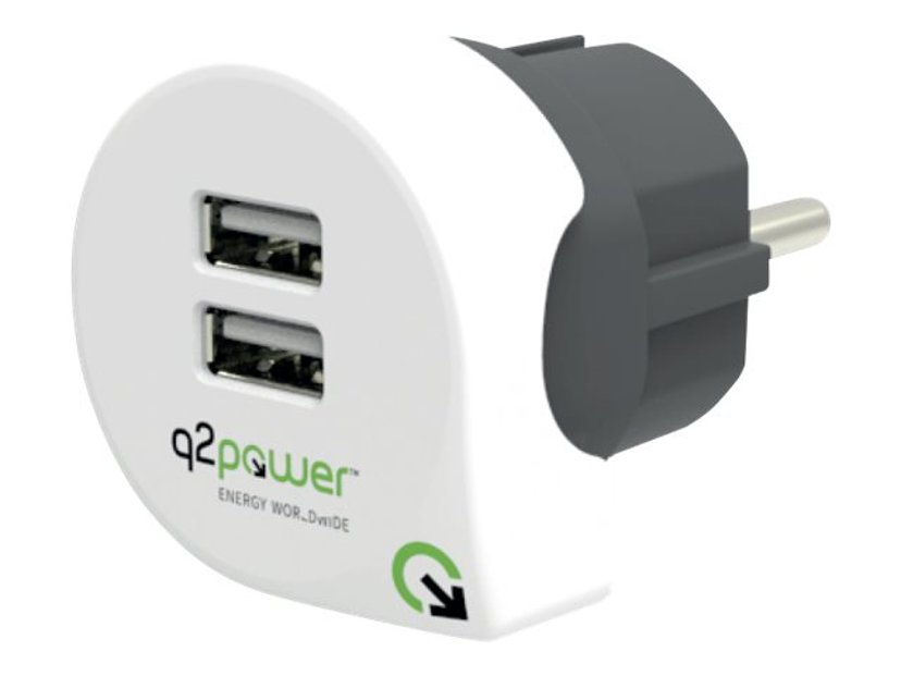 Q2power Lader Dual USB 2.4A EU Hvit/Svart