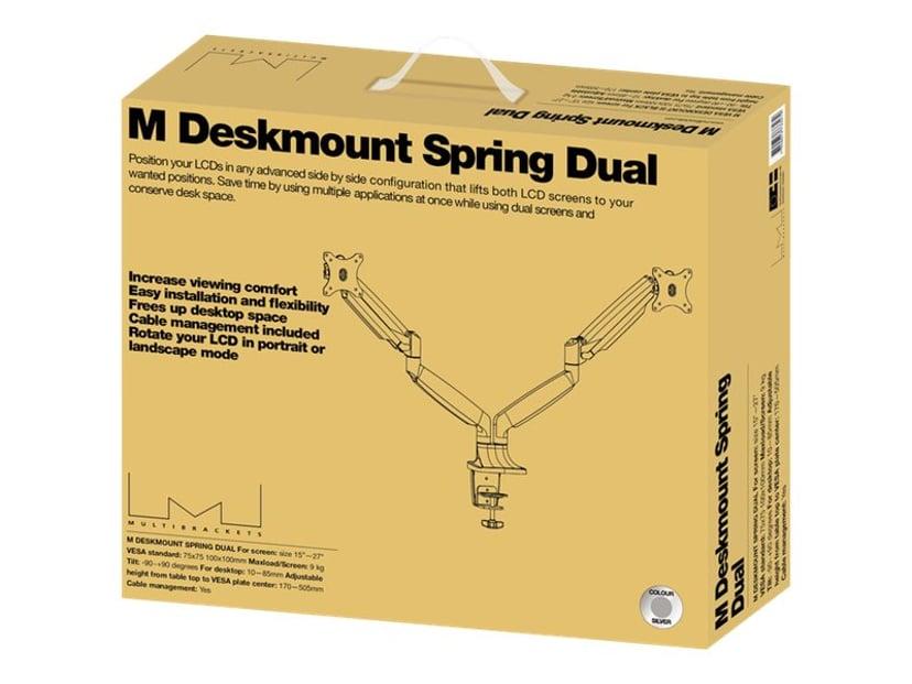"Multibrackets M Deskmount Gas Spring Dual 15""-27"" Silver"