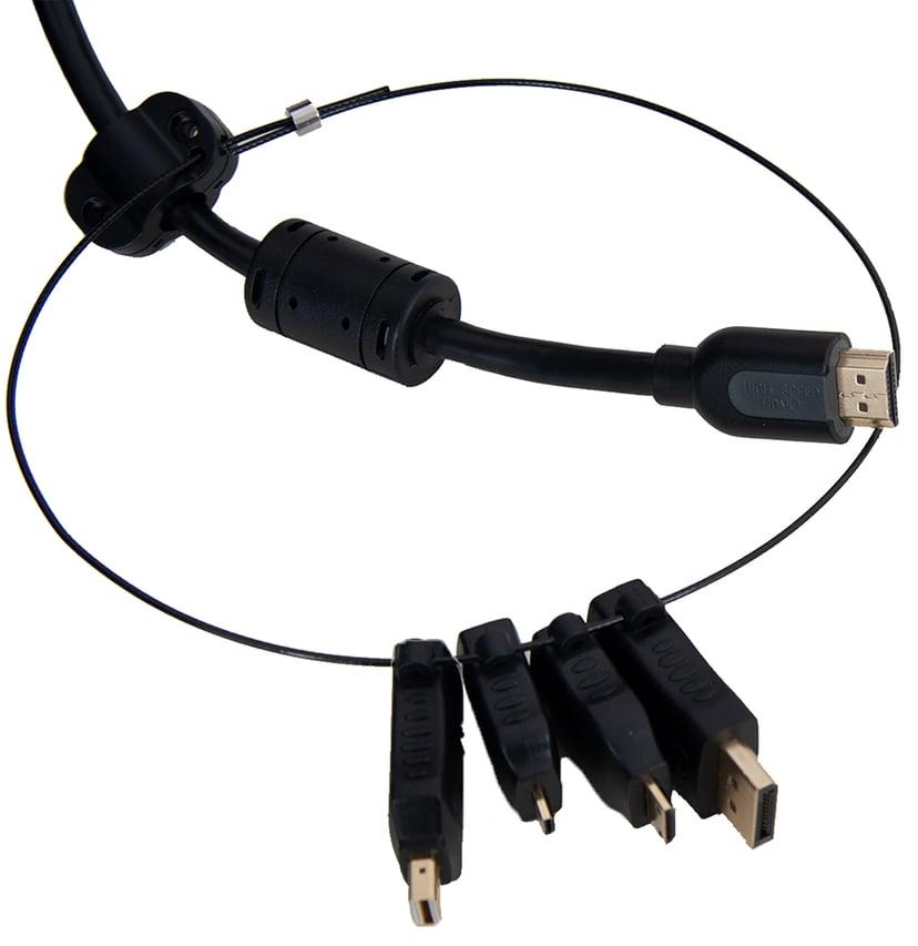 Prokord HDMI-Adapterring DisplayPort, DisplayPort Mini, HDMI Micro, HDMI Mini Han HDMI Hun Sort