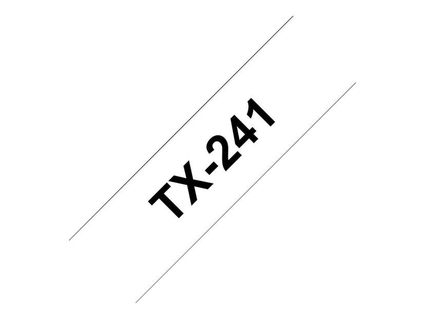 Brother Tape TX-241, 18mm Sort/Hvid