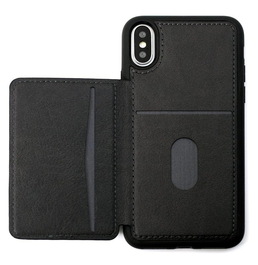 Cirafon Genuine Leather Flip Wallet iPhone X; iPhone Xs Musta