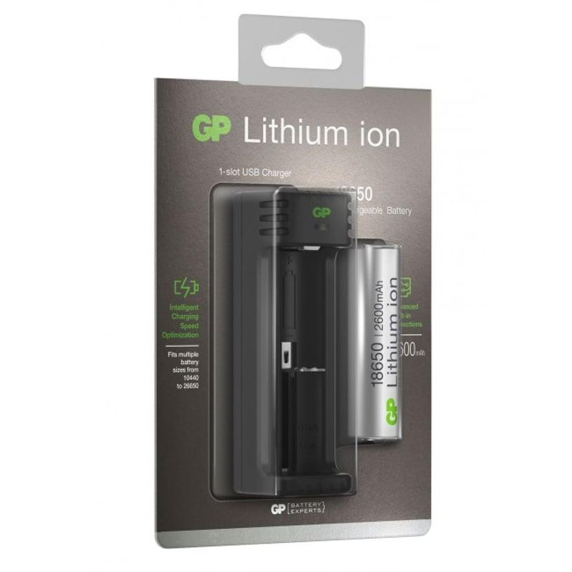 GP Batterilader Li-Ion 1-kanal 18650 Inkl 1st 18650 2600mAh