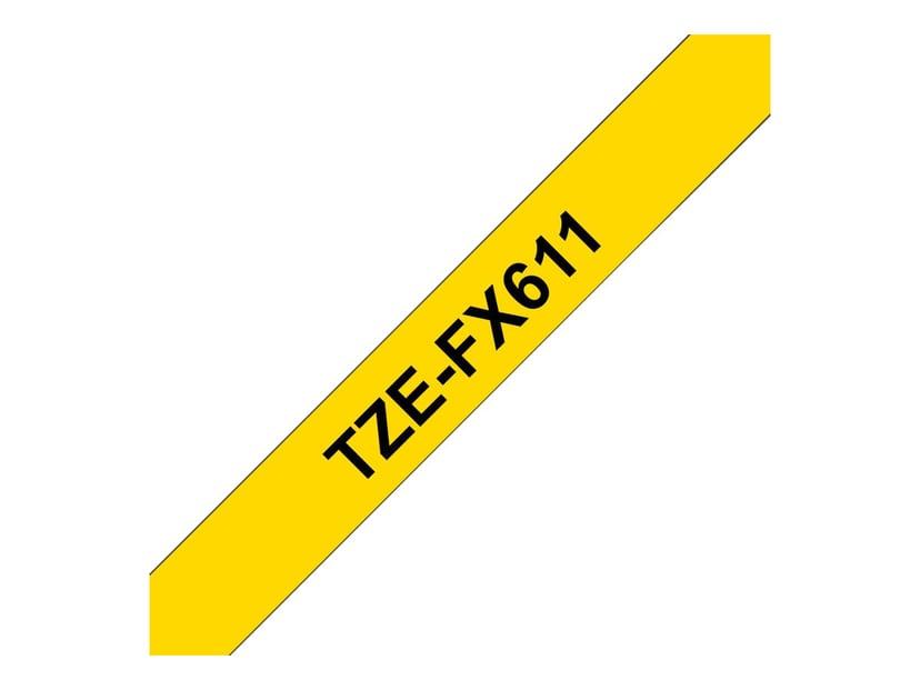 Brother Tape TZE-FX611 6mm Svart/Gul Stark