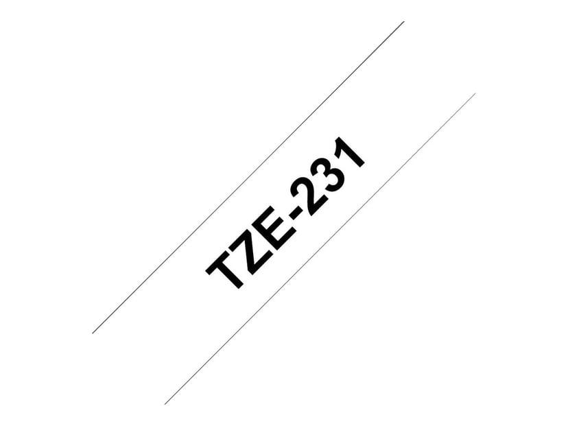 Brother Tape TZe-231 12mm Svart/Vit