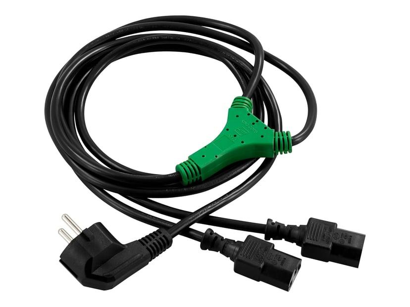 Deltaco Strøm-Splitter 2m Strøm CEE 7/7 Han Strøm IEC 60320 C13