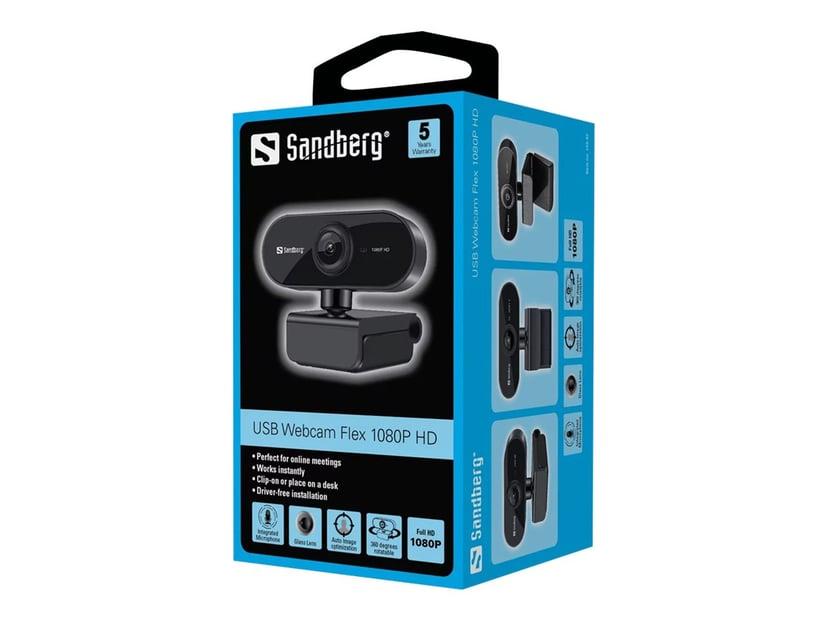 Sandberg USB Webcam Flex 1920 x 1080 Nettkamera Svart