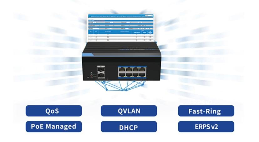 Direktronik Utepo UTP7308GE-BTPoE 8xGB 802.3bt Type4 90W 2xSFP Switch